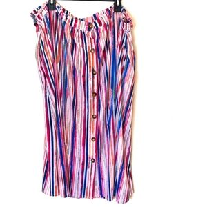Terra & Sky Water Color Button Maxi Skirt Nwot